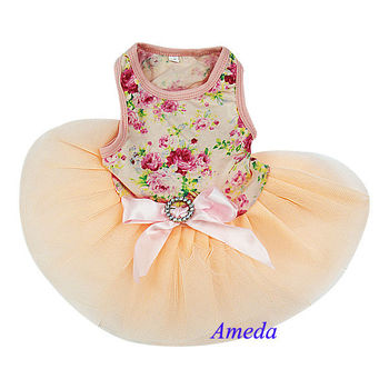 NEW Tea Rose Peach Pink Flower Crystal Bow Party Dress Small Pet Dog Cat Clothes XS-L