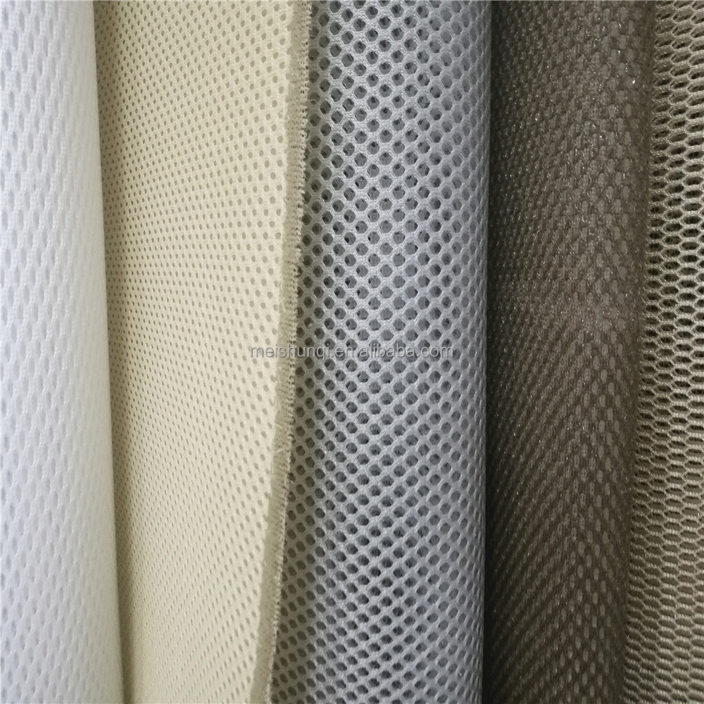 100%polyester mesh faric breathable tricot hole 3Dair mesh from 4mm to 20mm <strong>thickness</strong>