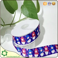 SHECAN 1 roll 100 yards printed snowman ribbons for gift packing