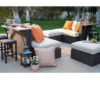 2018 New arrival good quality casual outdoor furniture rattan sofa with high bar table set