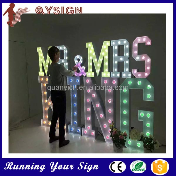 Wedding decoration vintage marquee letters led indoor for Indoor marquee decoration
