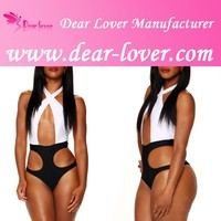 Adult fashion hot sale wholesale cheap Black White Halter extrem sexy lingerie