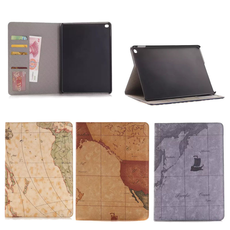 luxury Map design leather flip cover case for apple iPad air 2