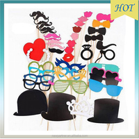 44pcs/set Photo Booth Props Red Lip Glasses Mustache Fun Mask Set, Lovely bride & groom Photo Booth Felt