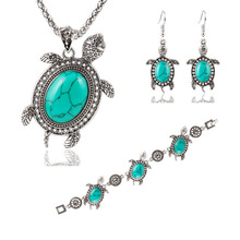 Online shop Animal pendant winter new bracelet necklace earring set alloy 4pcs turquoise tortoise jewelry sets