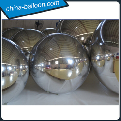 3m diameter inflatable chrome ball, silver inflatable mirror ball for decoration