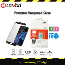 High quality curved tempered glass for samsung s7 edge screen protector 3D hot bending technology