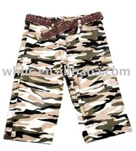 girl's camo pants short trousers leisure garments with belt