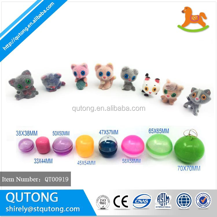high quality kitten flock in capsule for vending machine business/ cute kitten flocked capsule toy vending machine