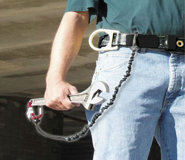 Black tool coil lanyard with double carabiner