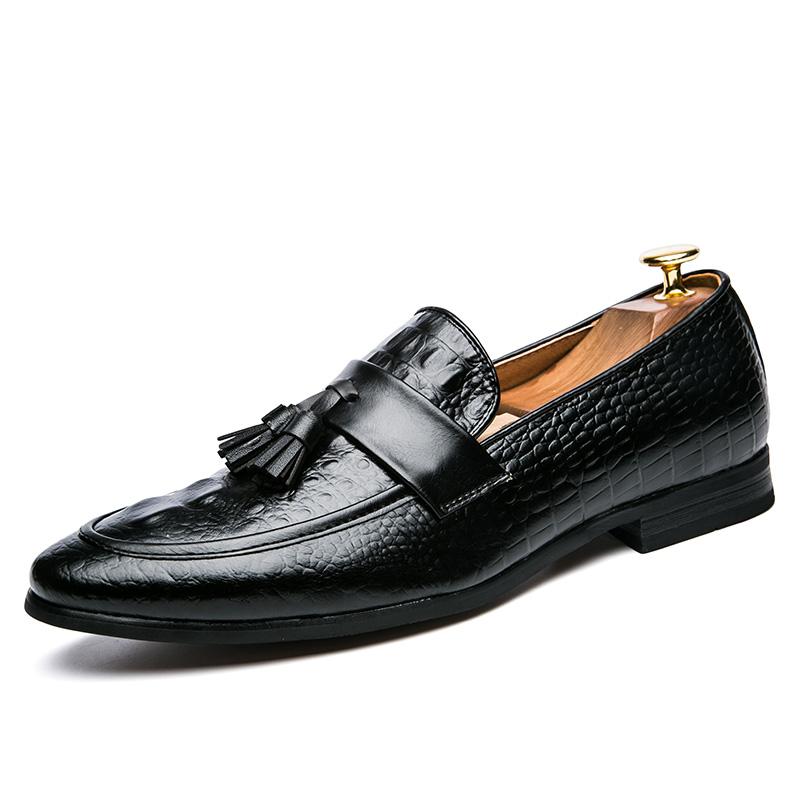 men winter italian fashion snake skin brogue leather oxford tassel slip on pointed toe shoes designer male formal cool footwear  (9)
