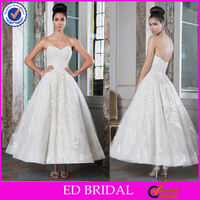 LN186 2016 designer pointed sweetheart latest low back lace appliqued wedding dress ankle length