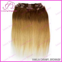 Ombre Colored Clip-in Hair Virgin Russian Hair Extension Clip In Hair Wholesale