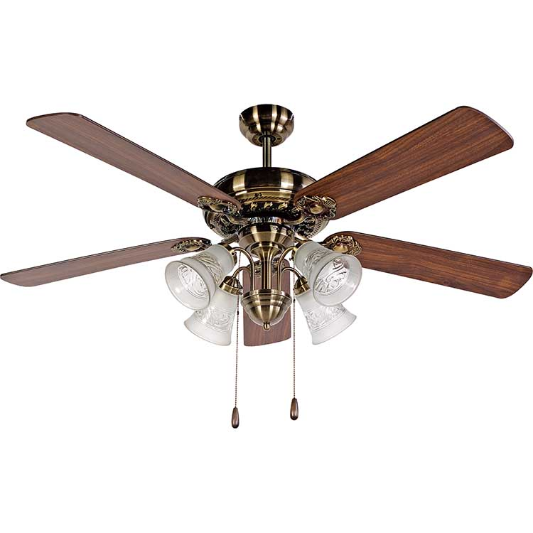 52 inch 4 blades antique brass beautiful Ceiling Fan with 4 lights