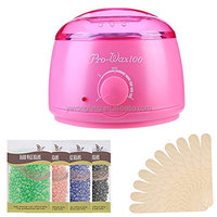 Professional Hair Removal Hot Wax Warmer Heater Kit - Rapid Melt + 4 Flavors Hard Wax Beans + 10 Wax Applicator Sticks