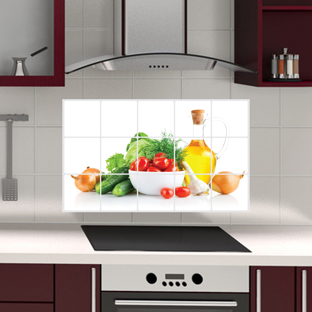Kitchen Tiles Fruit Design 3018 fruits and vegetables anti oil sticker wall flower tiles