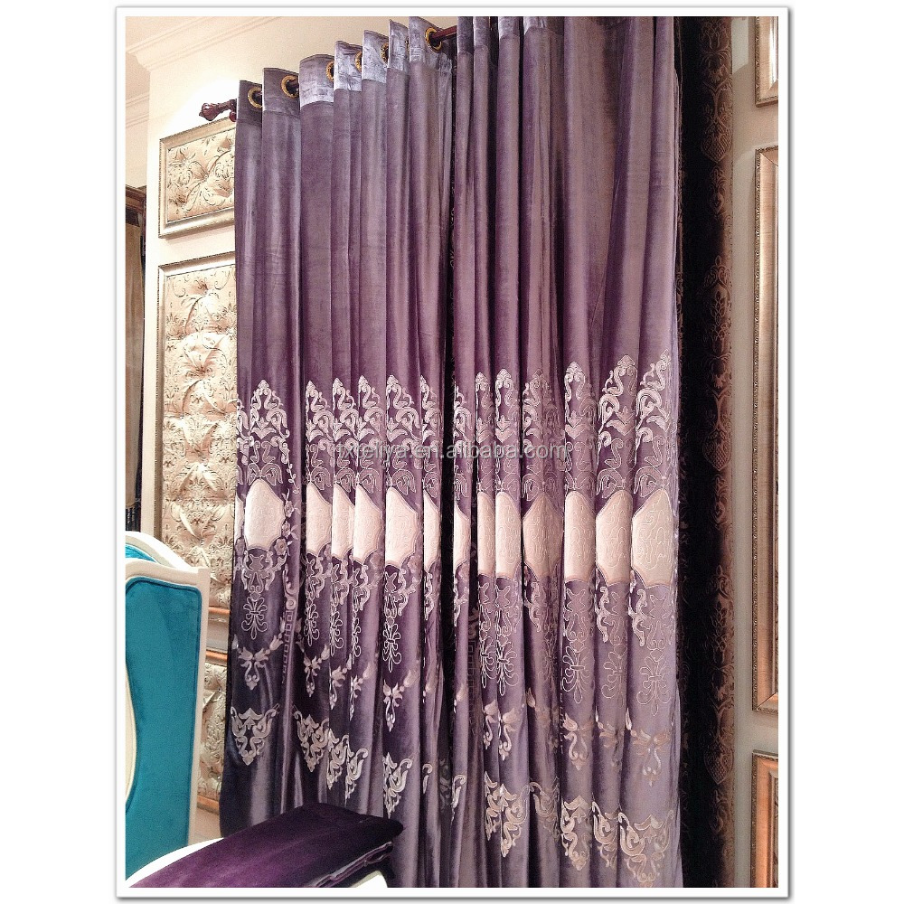Wholesale window curtains velvet embroidered fabric
