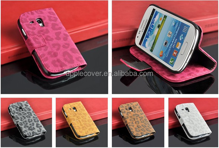 Leopard Pattern Leather cases for Samsung S3 mini Wallet