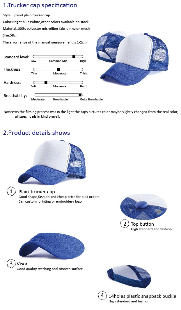 fast delivery blank custom mesh cap hat