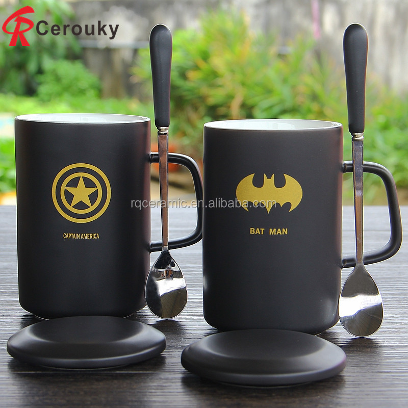 Hero alliance creative design coffee cup ceramic cup boys personality Starbucks mug with cover and spoon