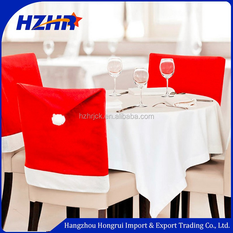 Xmas decoration Santa Claus Red Hat Chair Cover for Christmas Kitchen Dinner Seat Back Decor