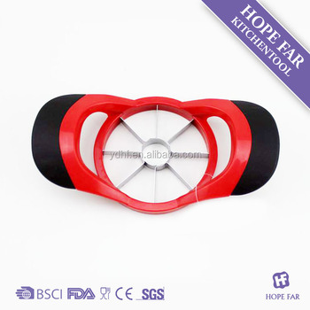 0300280 Nice red color plastic apple slicer with comfortable TPR handle