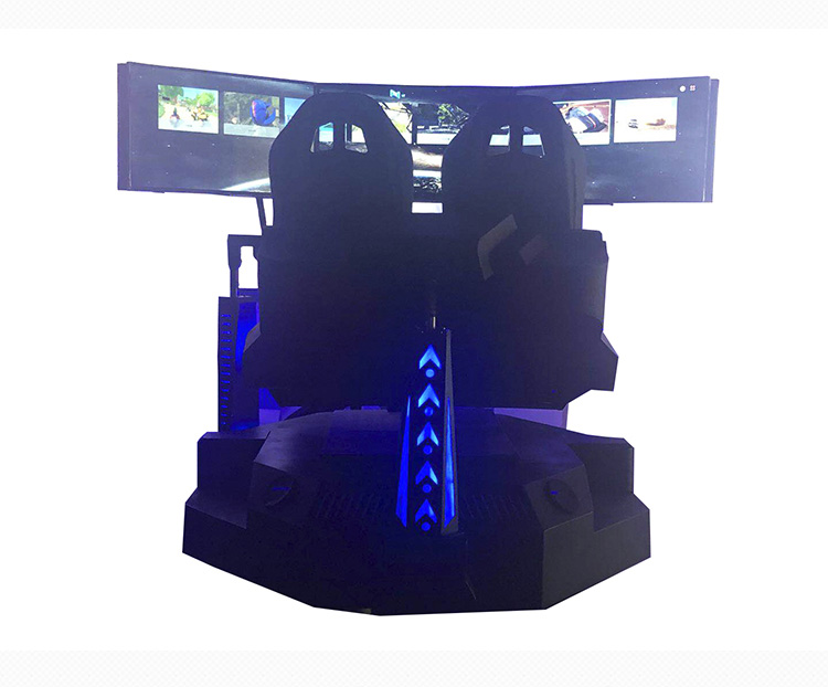 4D VR High speed racing car driving simulator machine with three screens