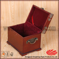 Chinese antique jewelry packaging wooden box with padlock