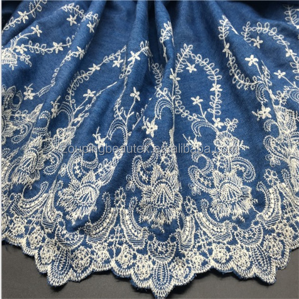 Manufacturer supply embroidered cotton denim fabric for girl dress