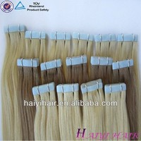 Good Quality Human Hair Double drawn top grade blue glue tape hair extension Full Cuticle One Donor 100% Virgin Brazilian Hair
