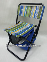 2014 hot sale Easy foldable chair with insulated cooler bag with aluminum foam linner,full printing stripes design