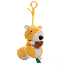2016 best selling high quality stuffed soft Cute small key decorations mini size stuffed plush squirrel with nut keychain toys