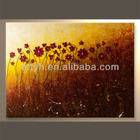 Red abstract acrylic painting abstract flowers