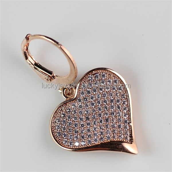 Fashion Cute Rose Gold Heart Shape Zircon Earring for Young Girl