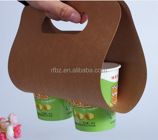 easy to carry coffee packaging bag,2 drink cups package with hole,hot drinks unpack kraft bag