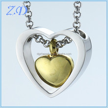 New Style Fashion Double Heart Urn Memorial Jewelry 2016 Stainless Steel Gold Plated Cremation Pendant Ashes Jewelry