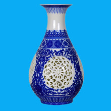 blue and white antique chinese porcelain vase for flowers