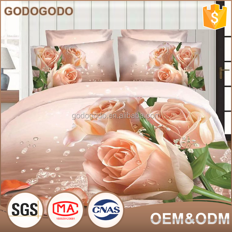 Wholesale Price European Style Romantic Bridal Printed Bed Cover Home Textile Luxury 100% Cotton 3D Printed Bedding Set