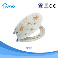 Soft closing starfish elegant design raised polyresin HQ toilet seat