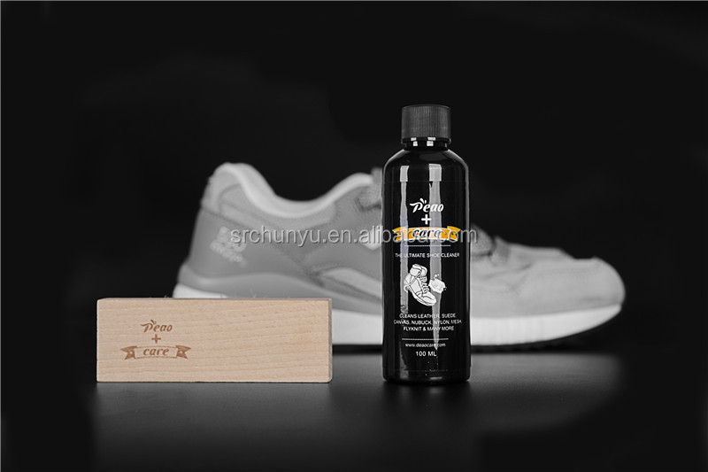 Suede Shoe Cleaner Kit Sneaker Cleaning Liquid Pig Bristle Brush WIth Plastic Ziplock Pouch Bag