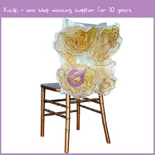 YT10382 kaiqi new wedding luxury taffeta organza chair back cover flower chair hoods