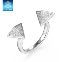 Cz Jewellery 925 Open Triangle Rings Design With Gems