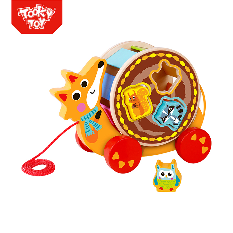 Pull Along Fox Toy Rocking Wooden Pull String Toy