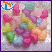 Wholesale 15*21mm Mixed Color Heart Loose Spacer Chunky Acrylic Frost Beads for Jewelry Bracelets
