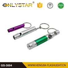 Certified top supplier promotional 1 led keychain torch wholesale custom security whistle