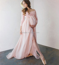 Off The Shoulder Chiffon Maxi Dresses Long Sleeve Maternity Clothes Wedding Dress 2017