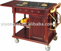 flambe trolley/wooden cooking cart/dining cart