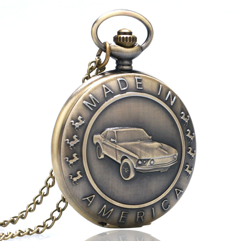 Antique Car Pocket Watch Classic Mustang Sedan Made In America Carving Pendant Chain Cool Men Clock Best Gifts for Boys Children (3)