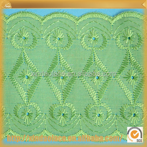 High quality fashion design embroidery cotton lace curtain fabric