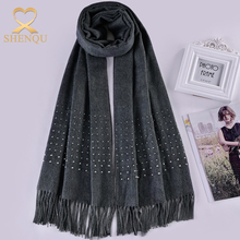 Fashionable exquisite rhinestones thick polyester and viscose warm woman winter long pasmina scarf